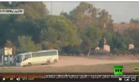 لحظة استهداف الفصائل الفلسطينية لحافلة جنود إسرائيليين شرقي غزة بصاروخ موجه