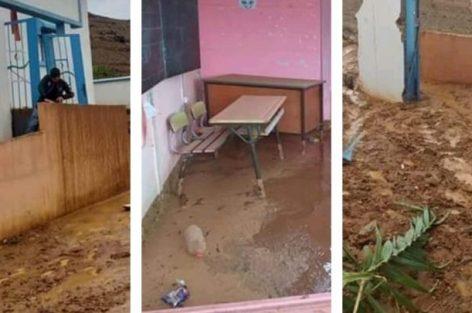 انهيار مدرسة بجماعة ابرانن بالحسيمة (صور)